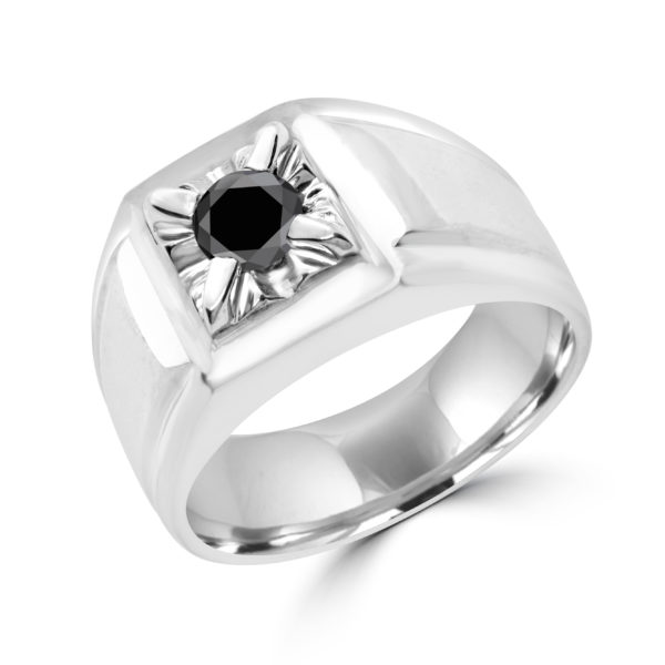 Black diamond men solitaire ring 0.56 (ctw) in 10k white gold