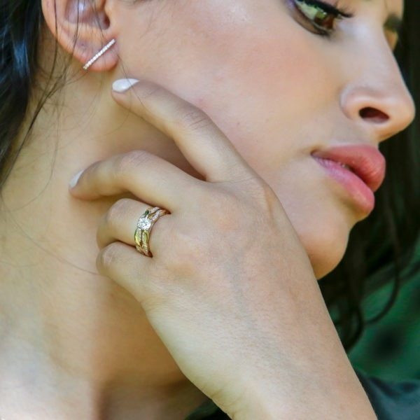 Twisted diamond bridal set 0.72 (ctw) in 14k white gold