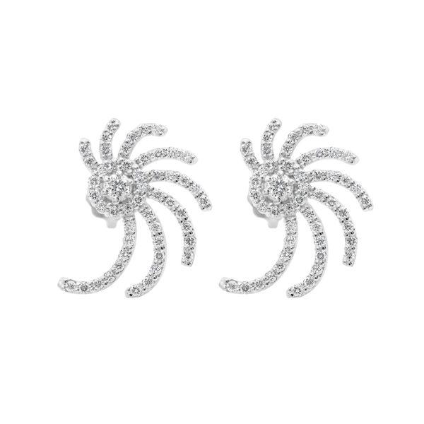 Spiral diamond earrings in 0.60 (ctw) 14k white gold