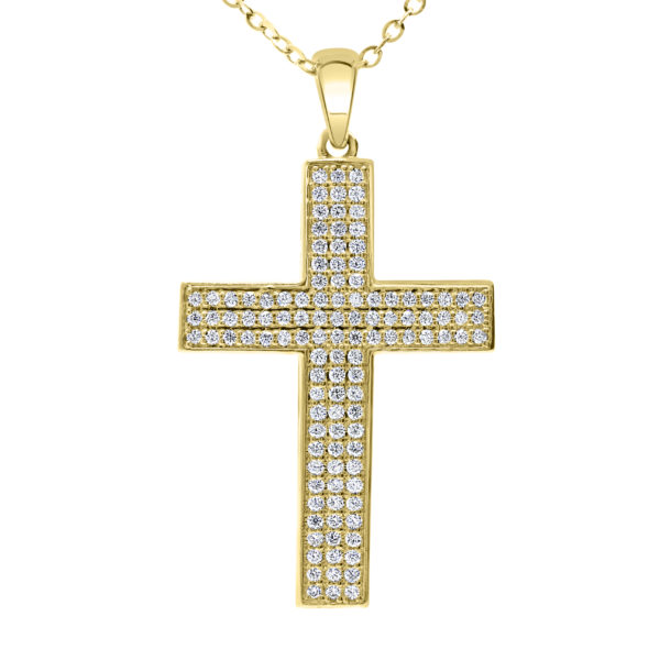 Diamond cross pendant 1.02 (Ctw) in 10k yellow gold