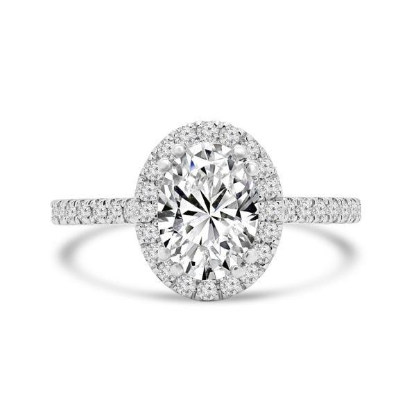 Oval cut diamond halo ring 1.66 (ctw) 14k white gold