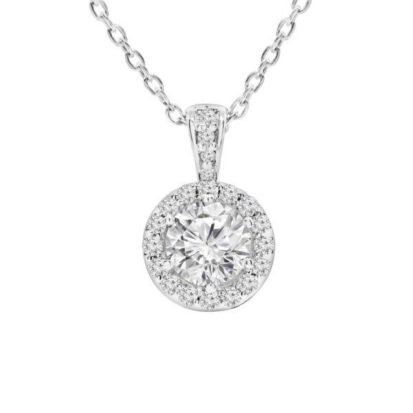 Halo diamond pendant 1.00 (ctw) in 14k white gold
